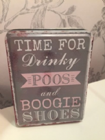 Time for Drinky Poos & Boogie Shoes Grey & Pink Tin Box